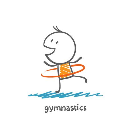 engaged: persons engaged in gymnastics illustration