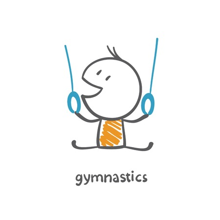 persons engaged in gymnastics illustration Vector