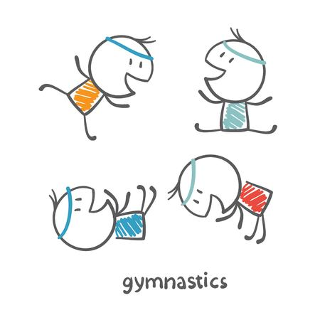 persons engaged in gymnastics illustration