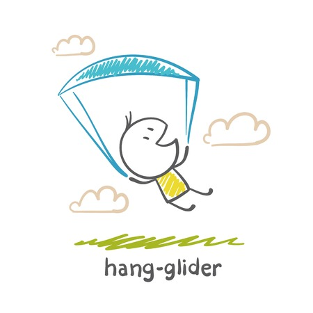 glider: man flying on a hang glider illustration Illustration