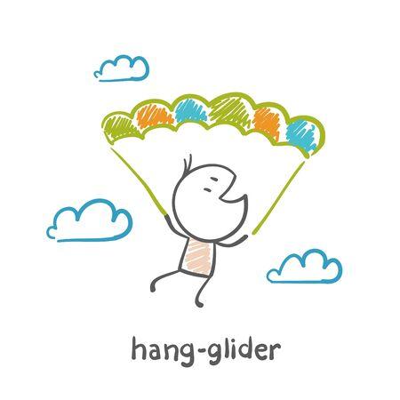 man flying on a hang glider illustration Vettoriali