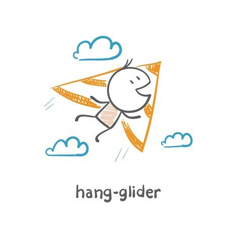 man flying on a hang glider illustration Ilustração