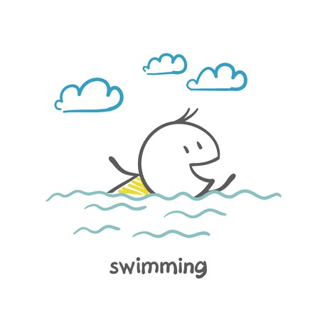 swim cap: man swims illustration Illustration