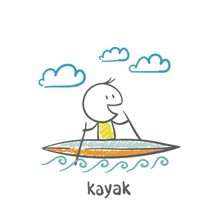 kayaking: people swimming, kayaking illustration