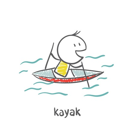 life jackets: people swimming, kayaking illustration