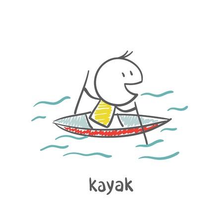 people swimming, kayaking illustration
