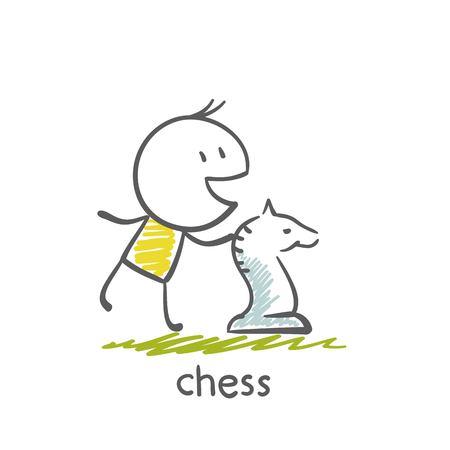 jugando ajedrez: hombre ilustraci�n juego de ajedrez