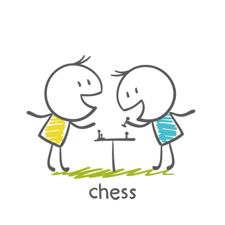 cooperating: man playing chess illustration