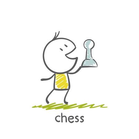 man playing chess illustration