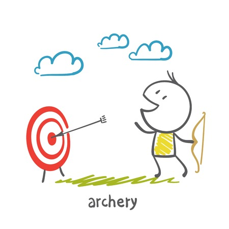 adolescent: man shoots a bow illustration Illustration