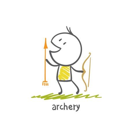 man shoots a bow illustration Illusztráció