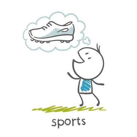 person dreams of running shoes illustration Vector