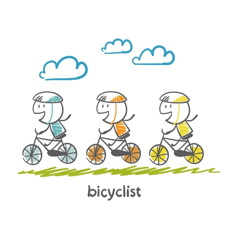 bicycling: people engaged in cycling illustration