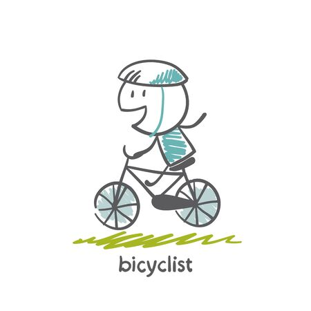 cycler: people engaged in cycling illustration