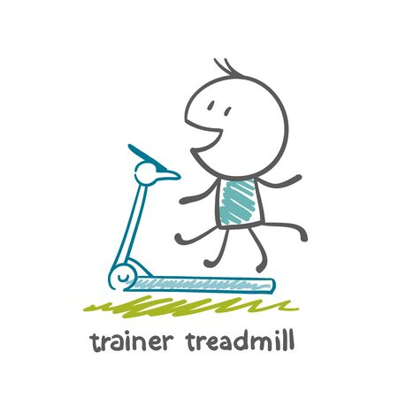 hometrainer: persons engaged in the simulator treadmill illustration