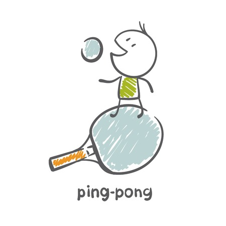pong: man playing ping pong illustration