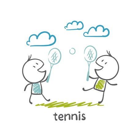 quickness: man playing tennis illustration Illustration