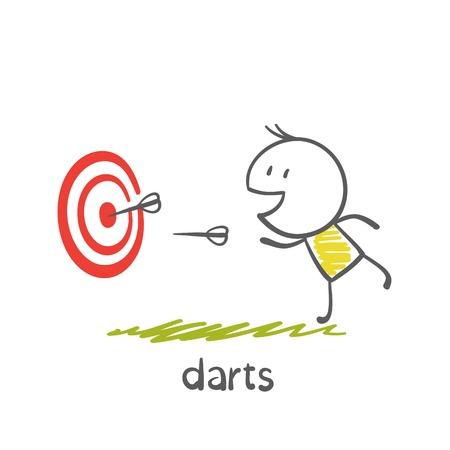 darts: man playing darts illustration