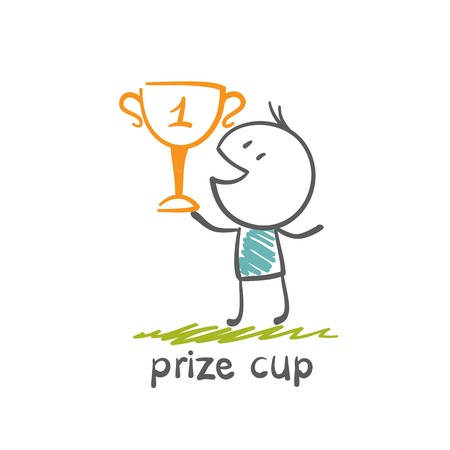 man won the prize cup illustration Vector
