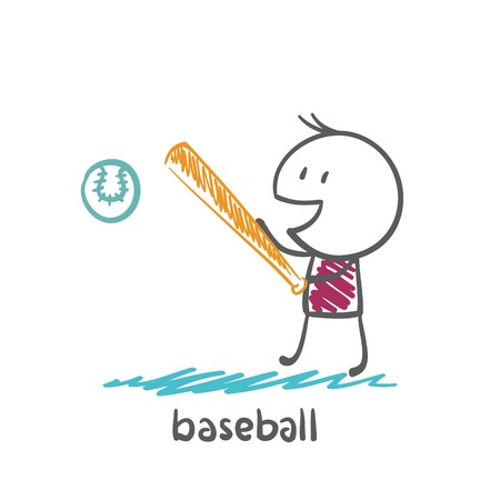 man playing baseball illustration Vector