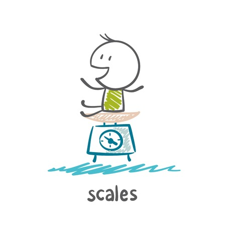 man weighed on the scales illustration Vector