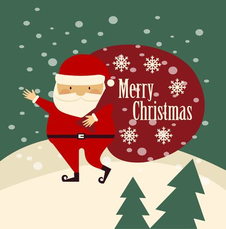 carries: Santa Claus is worth carries a bag with gifts and wishes Merry Christmas illustration