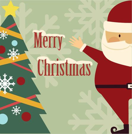 nicholas: Santa Claus standing next to a Christmas tree illustration