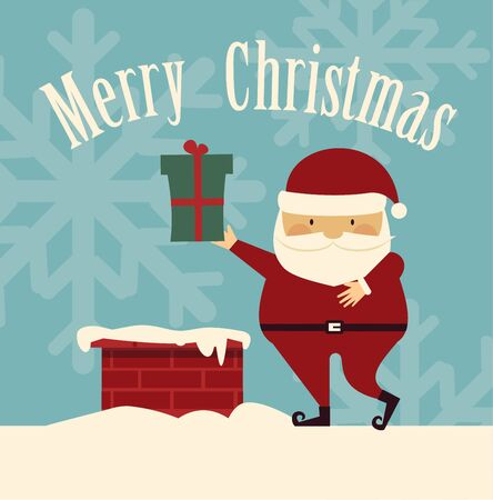 Santa Claus on the roof illustration