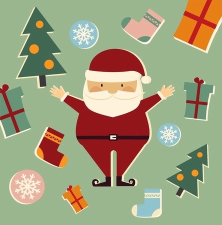 Santa Claus among the Christmas trees, gifts and socks illustration Vector