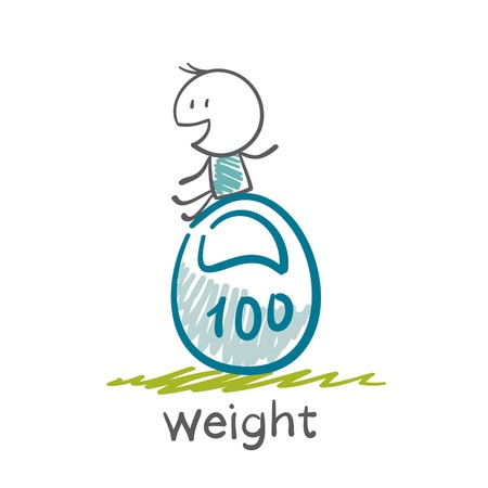man lifts a weight illustration Vector