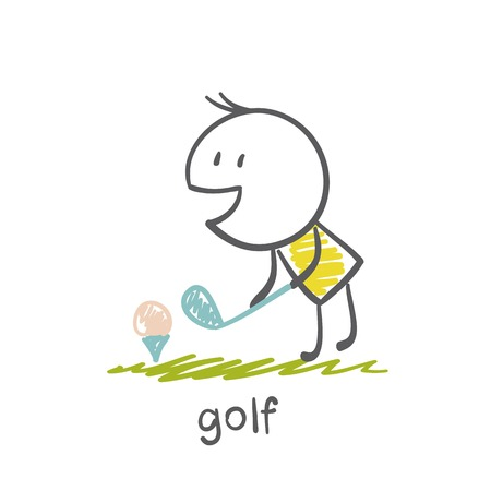 man playing golf illustration Vectores