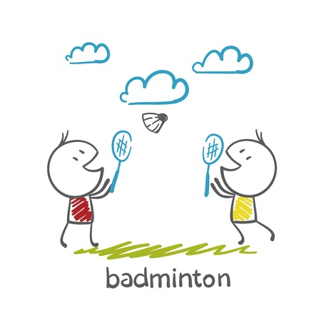 badminton sport symbol: man playing badminton illustration