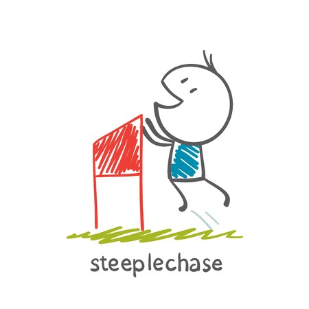 grandstand: man running with obstacles illustration Illustration