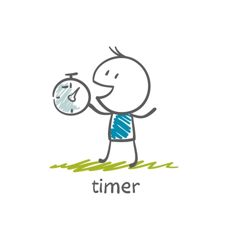 man with a timer illustration