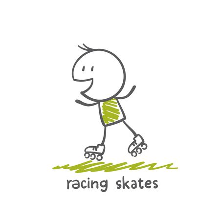 skate park: man on roller skates illustration