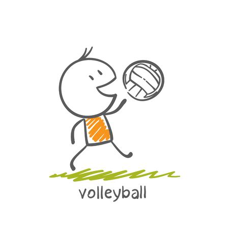 man playing volleyball illustration Vectores