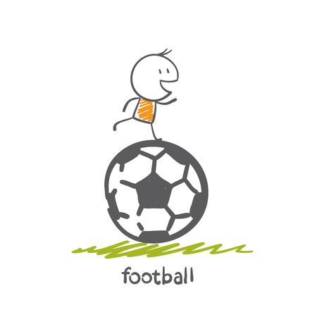 man playing football illustration