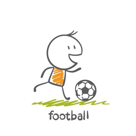 heading the ball: man playing football illustration