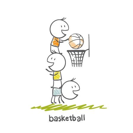 dunking: man playing basketball illustration