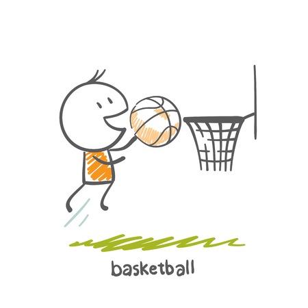 slam dunk: man playing basketball illustration