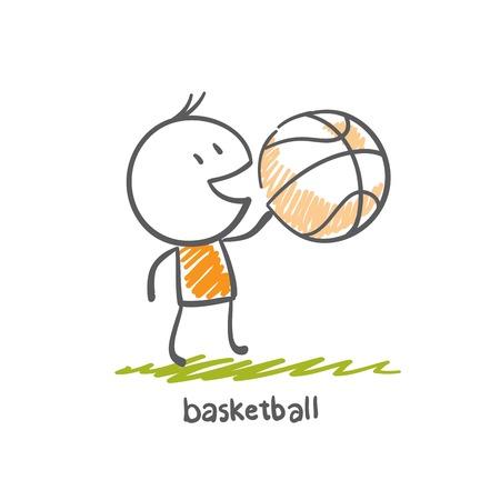basket ball: man playing basketball illustration