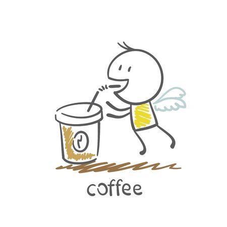 man het drinken van koffie, van waaruit hij groeit vleugels illustratie