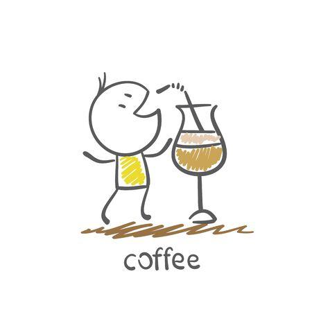 man drinkt koffie uit de tube illustratie
