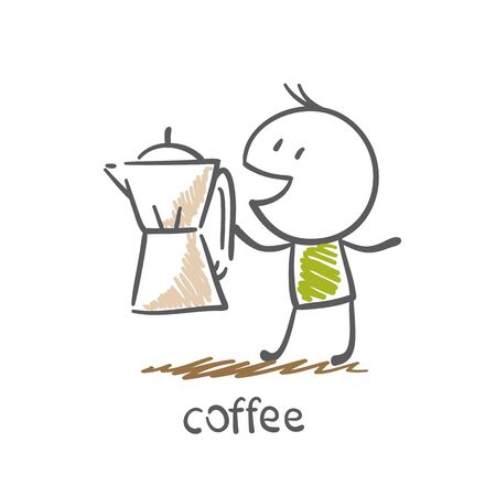 annoying: a man with a pot of coffee illustration Illustration
