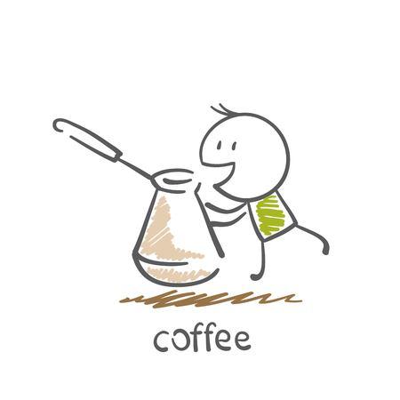 man brews coffee illustration