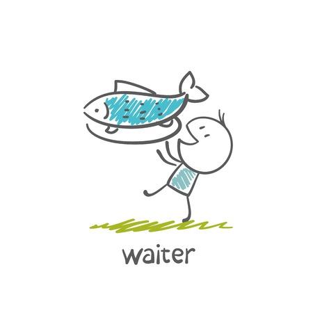 ober met een dienblad met een schotel van vis illustratie Stock Illustratie