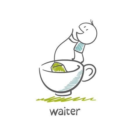waiter makes tea illustration
