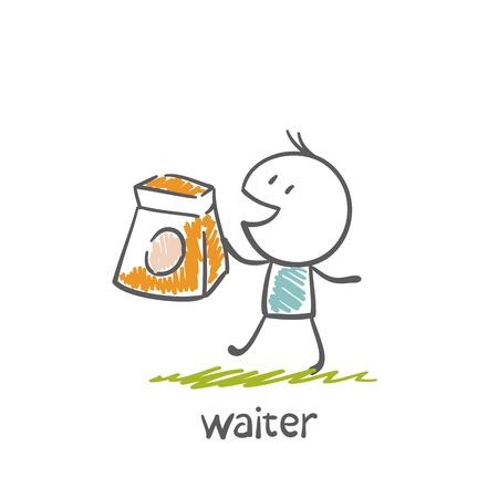 ober draagt een zak van voedsel illustratie Stock Illustratie