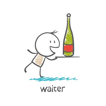 waiter carrying a tray with a bottle illustration