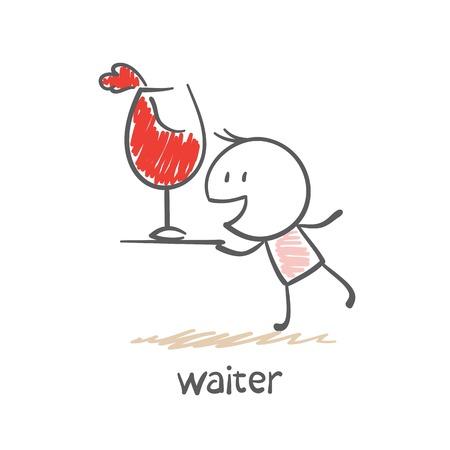 ober dienblad met een glas wijn illustratie